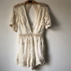 Sexy Lowcut Lace Romper
